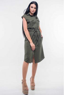 Літнє льняне плаття кольору хакі