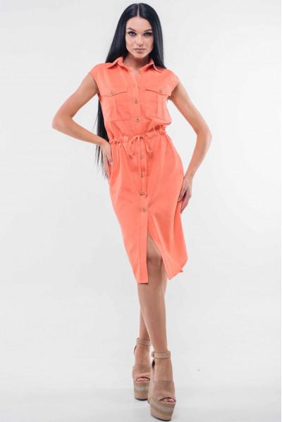 Персикове яскраве плаття міді