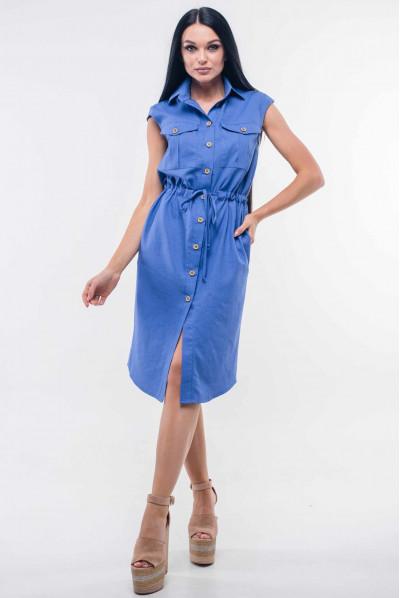 Синє жіночне плаття міді на гудзиках