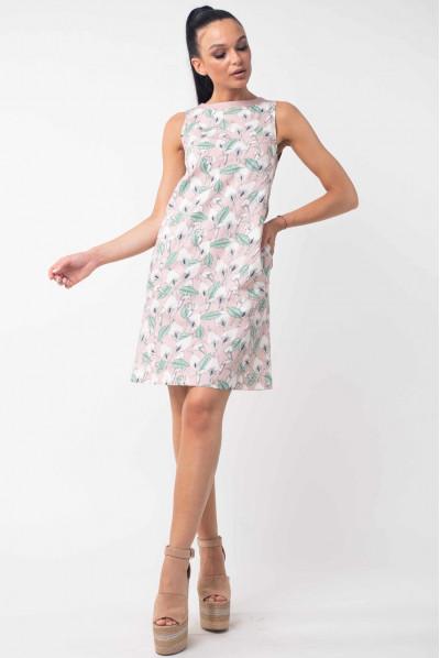 Пудрове оригінальне плаття з принтом