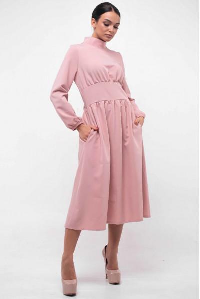 Пудрове вишукане плаття міді з кишенями