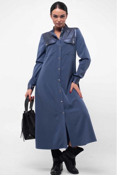 Універсальне плаття міді джинсового кольору