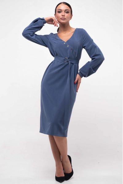 Стильне плаття на запах джинсового кольору