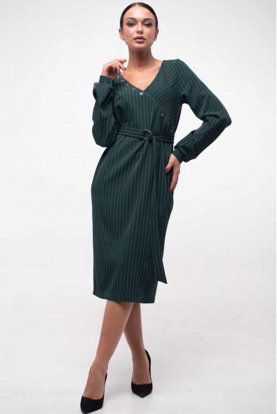 Смарагдове стильне плаття міді на запах