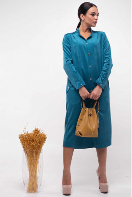 Блакитне стильне плаття-рубашка