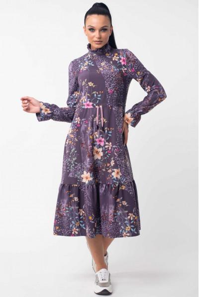 Фіолетове стильне плаття міді