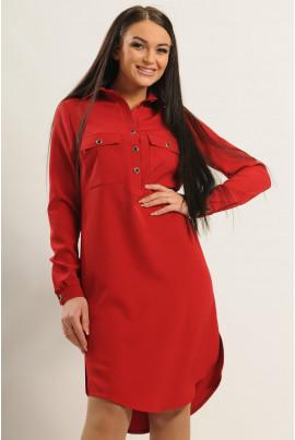 Вишневе стильне плаття-сорочка