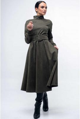 Жіночне замшеве плаття кольору хакі