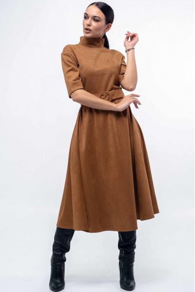 Карамельне вишукане замшеве плаття