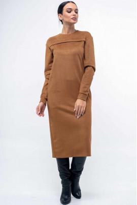 Оригінальне замшеве плаття карамельного кольору
