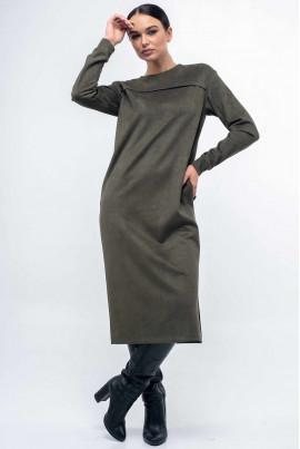 Затишне замшеве плаття кольору хакі