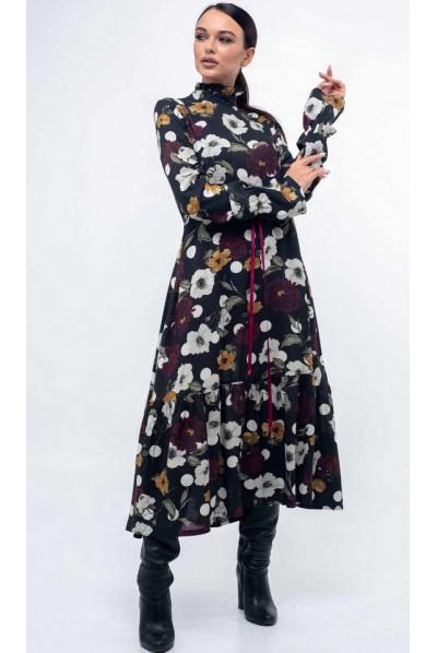Чорне вишукане плаття міді з принтом