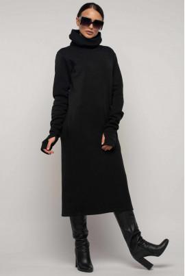 Чорне трикотажне плаття міді