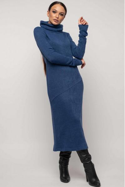 Сине трикотажне тепле плаття