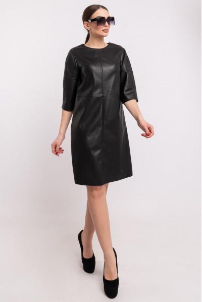 Чорне привабливе шкіряне плаття