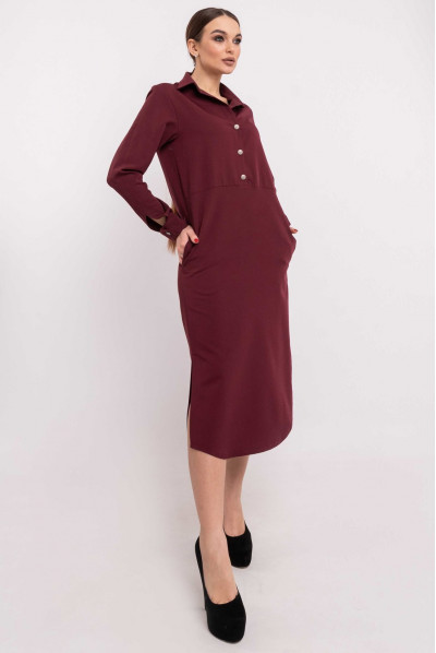 Бордове витончене плаття-рубашка