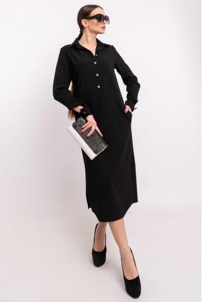 Чорне модне плаття-рубашка
