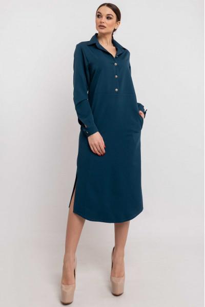 Синє просторе плаття - рубашка