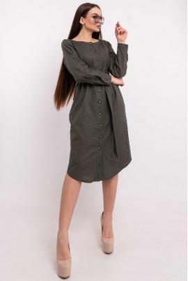 Жіночне плаття-рубашка кольору хакі