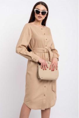 Бежеве стильне плаття-рубашка