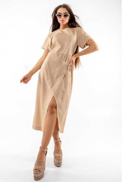Бежеве стильне літнє плаття