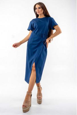 Темно-синє оригінальне плаття на запах