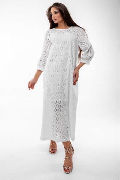 Біле просторе плаття міді