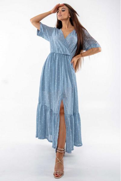 Блакитне легке шифонове плаття максі