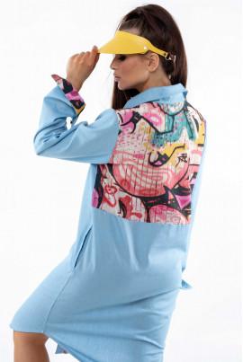 Блакитне стильне джинсове плаття-рубашка