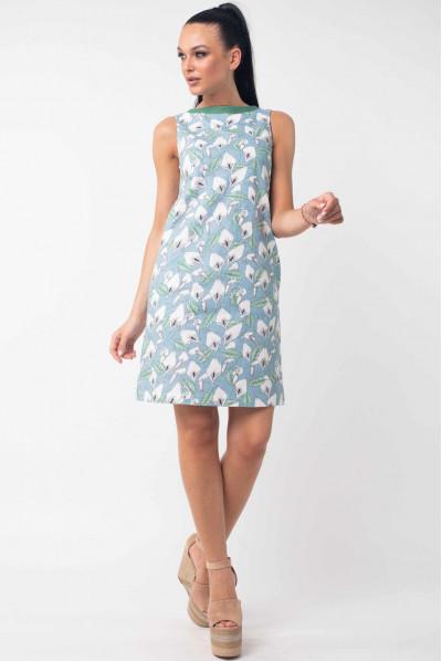 Блакитне літнє жіночне плаття з принтом