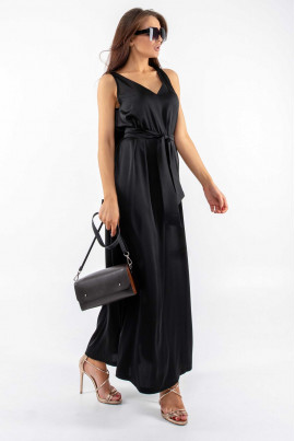Елегантний чорний шовковий сарафан на літо