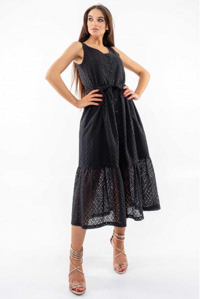 Чорний привабливий сарафан міді