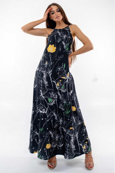 Чорний привабливий сарафан з принтом
