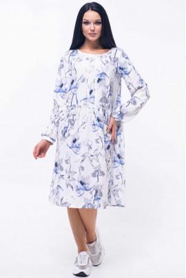 Біле ніжне плаття з квітковим принтом