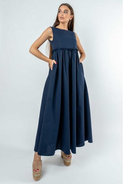 Оригінальне довге плаття кольору чорниця