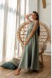 Оливкове привабливе плаття максі