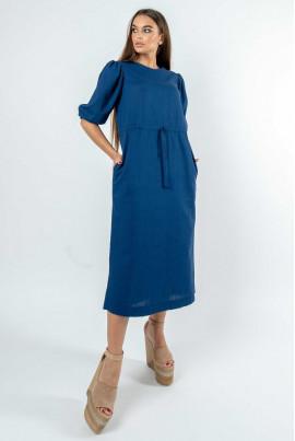 Темно-синє жіночне плаття міді