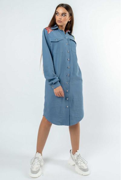 Блакитне стильне джинсове плаття
