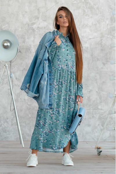 Оригінальне плаття кольору бриз для повних жінок