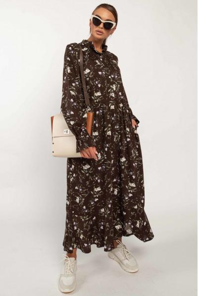 Стильне осіннє плаття шоколадного кольору