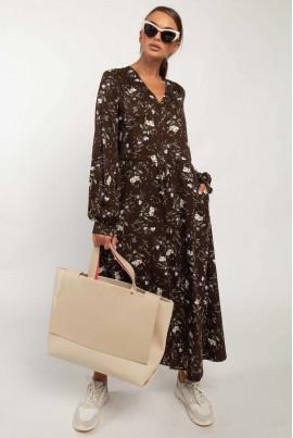 Осіннє плаття шоколадного кольору з принтом