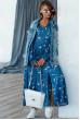 Синє стильне плаття з принтом для повних жінок