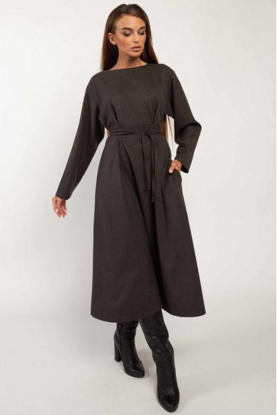 Тепле плаття кольору графіт для повних жінок