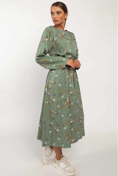 Зелене оригінальне осіннє плаття з квітковим принтом