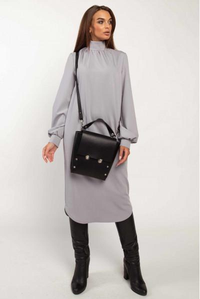 Сіре жіночне просторе плаття великих розмірів