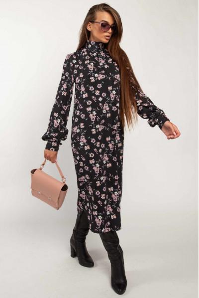Чорне осіннє плаття з квітковим принтом