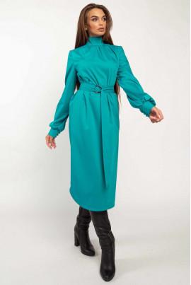 Блакитне плаття з поясом для повних жінок