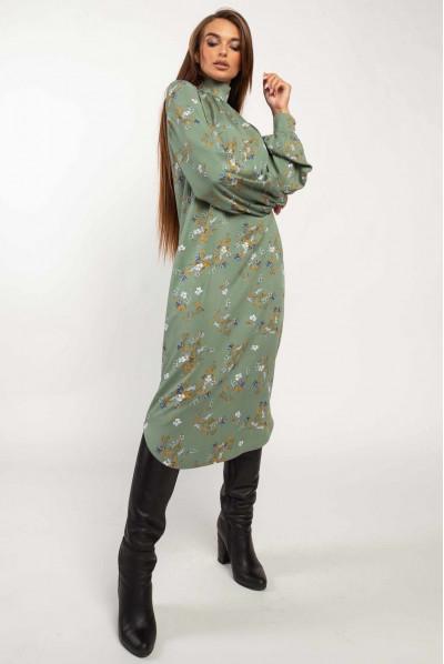 Зелене привабливе плаття міді для жінок з апетитними формами