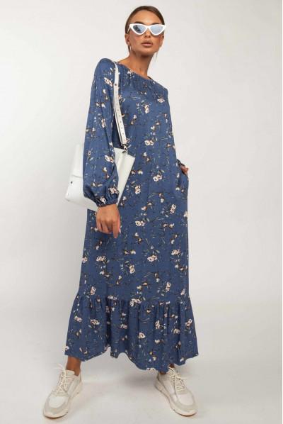 Синє плаття міді з принтом для повних жінок