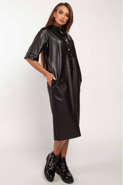 Чорне затишне шкіряне плаття великих розмірів